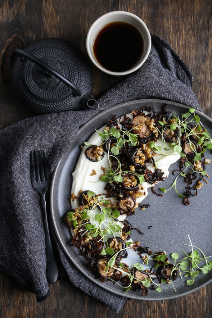 Cauliflower Puree with Roasted Mushrooms and Caramelized Onions