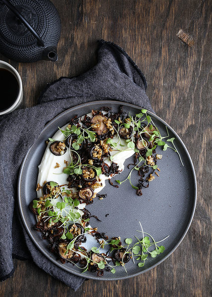 Olives for Dinner - Cauliflower Puree with Roasted Mushrooms and Caramelized Onions