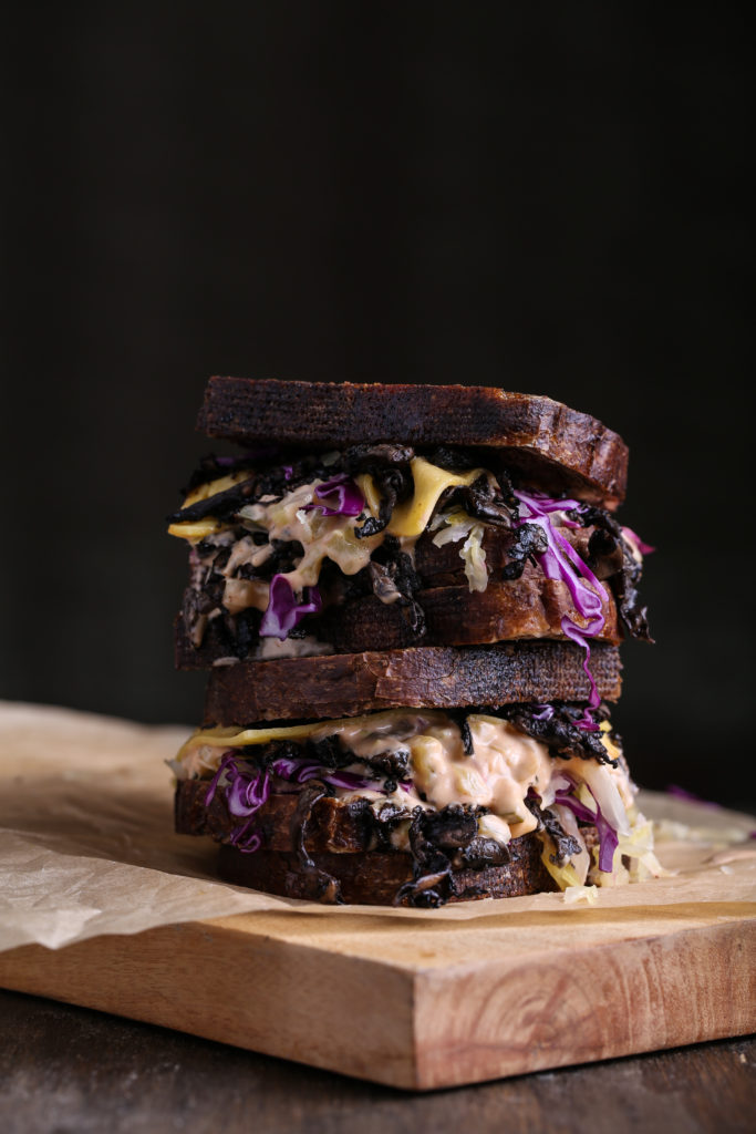 Vegan Reuben with Mandolined Portobello