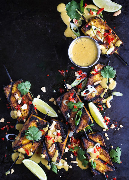 Tofu Satay with Spicy Peanut Sauce
