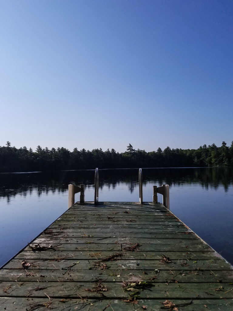 View from a dock near a lake in New Hampshire