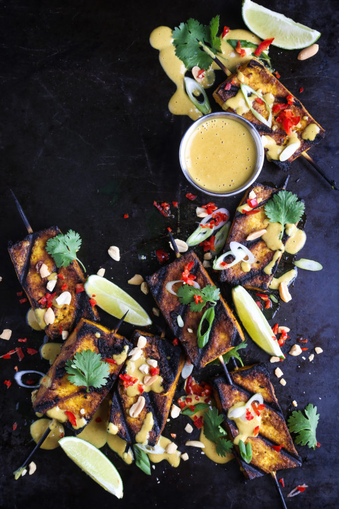 Grilled Tofu with Peanut Sauce, hot peppers and herbs