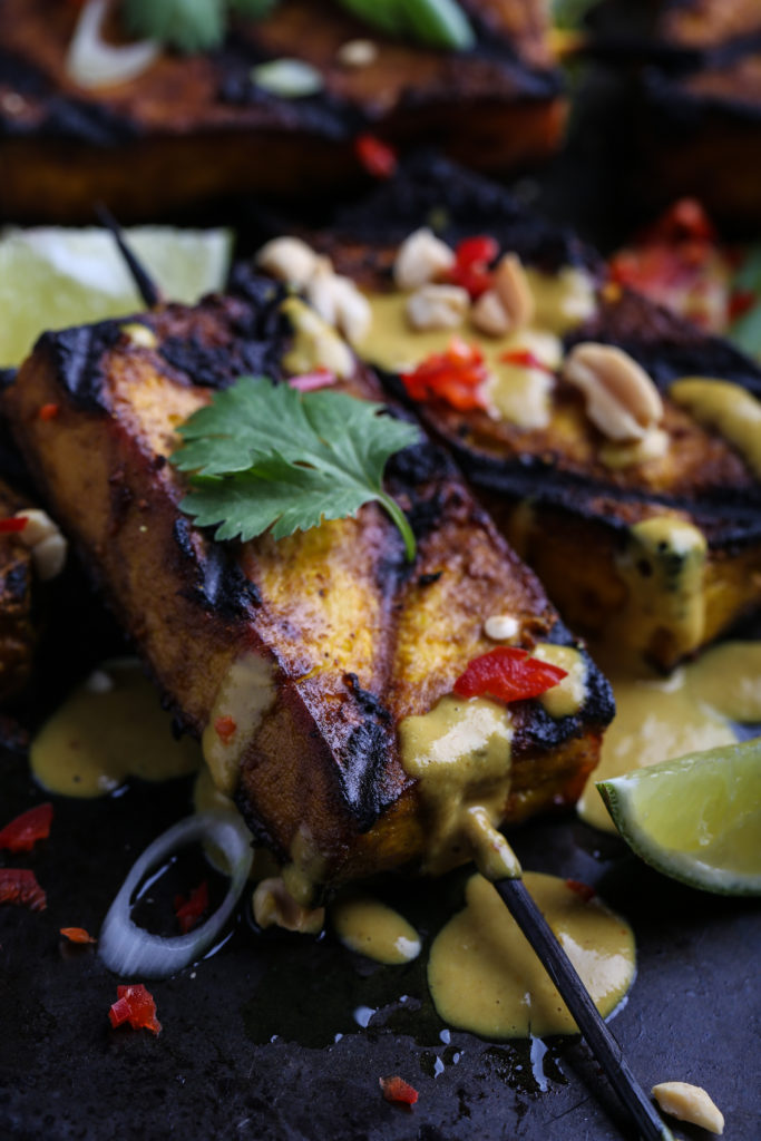 Grilled Tofu on a skewer, propped up