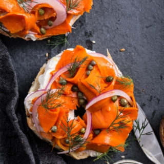 Carrot lox, two bagels with vegan cream cheese