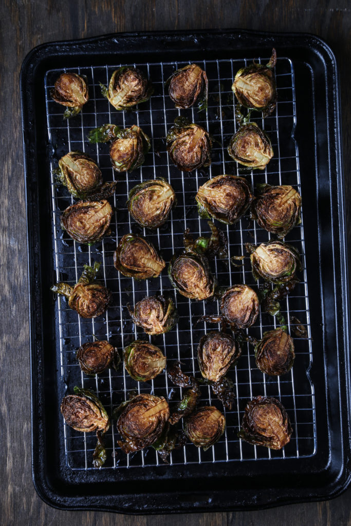 Deep-fried Brussels sprouts, on a baking sheet