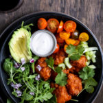 A top-down shot of a buffalo cauliflower salad