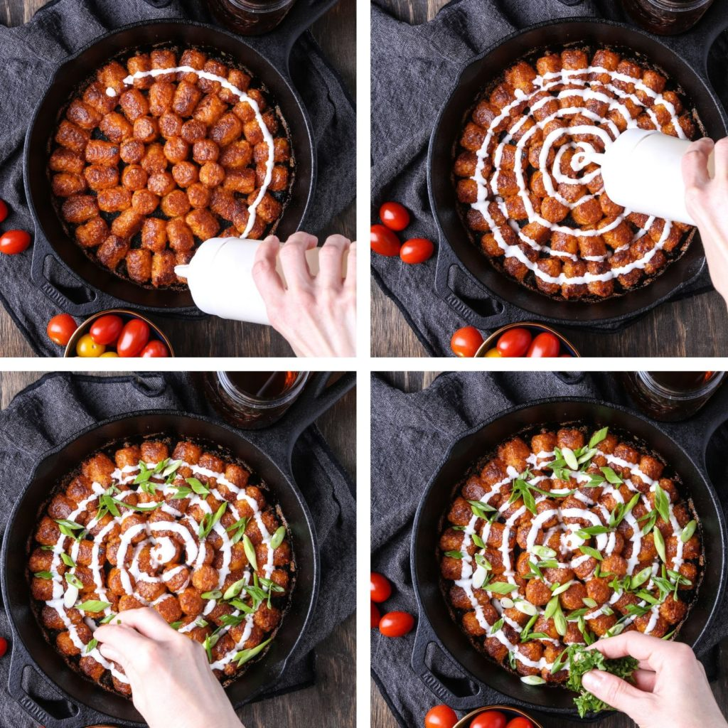 A four panel shot of dressing and herbs being applied to buffalo tots in a cast iron pan