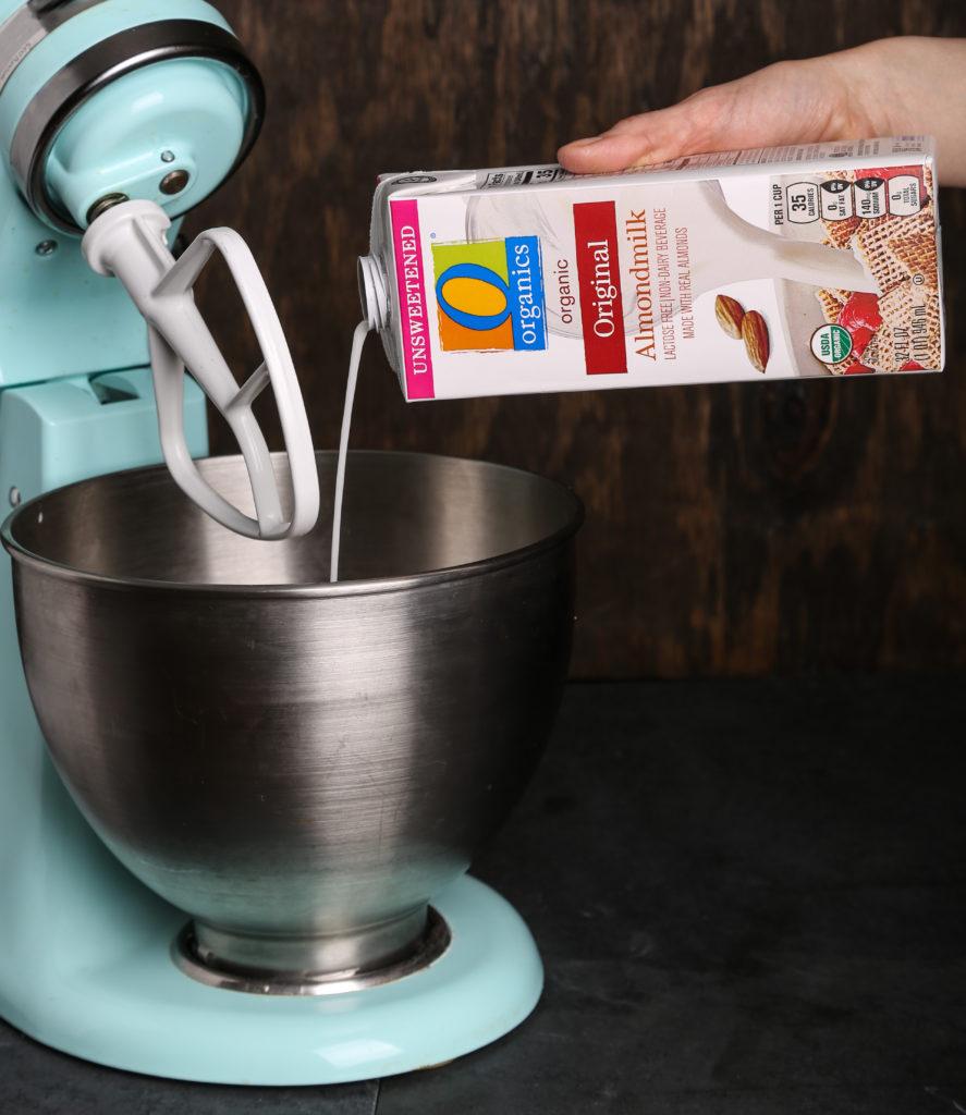 O Organics Almondmilk, being poured into stand mixer
