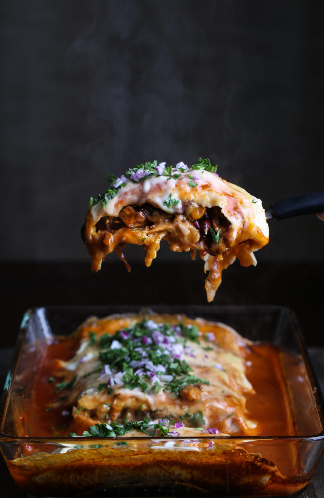 Side shot of a smothered burrito