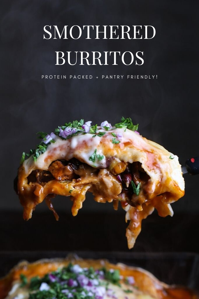 A side shot of a smothered burrito