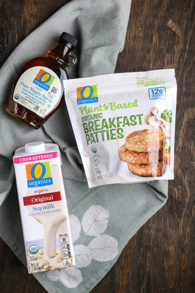 OOrganics brand maple syrup, plant-based breakfast patties and soymilk