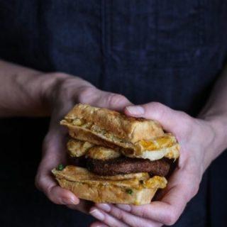 Vegan sausage wafflewich