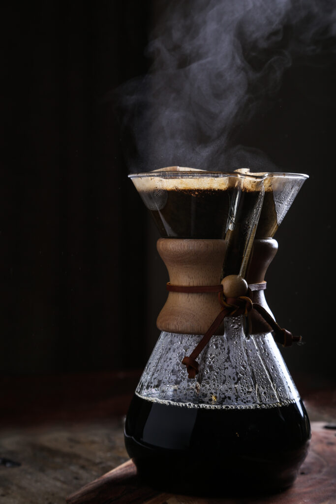 a steaming pot of coffee