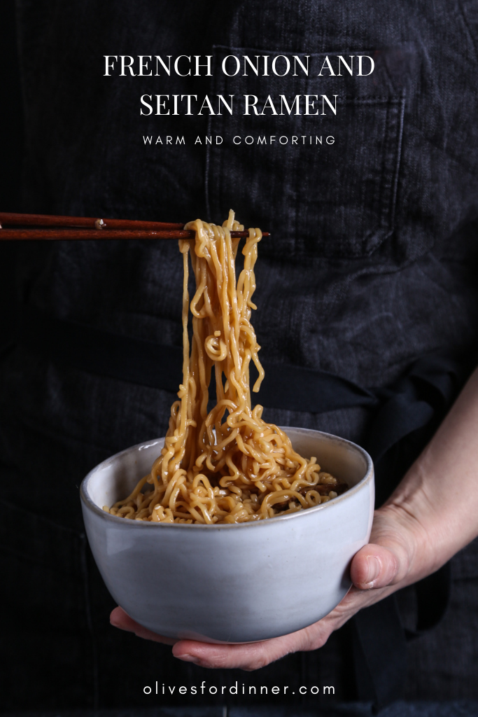 a bowl of vegan ramen with chopsticks