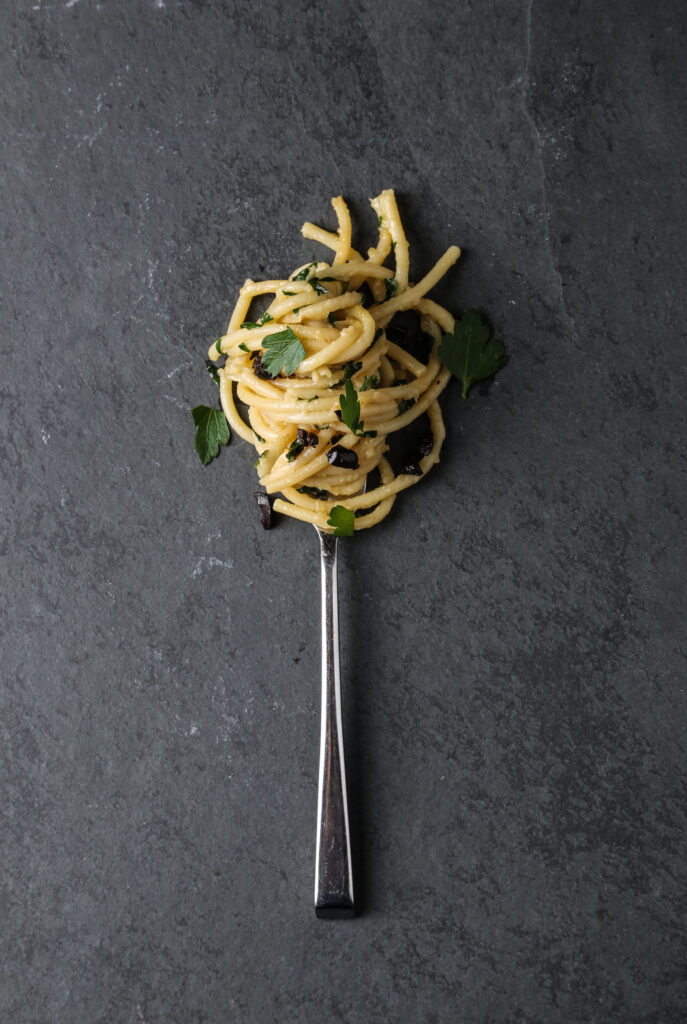 pasta twisted onto a fork